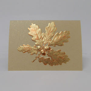 Paula Skene Designs gold foil embossed oak leaves on gold note card