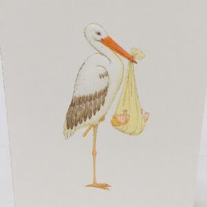 Paula Skene Designs stork 'new arrival' card