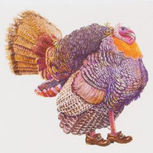 "Paula Skene Designs ""Happy Thanksgiving"" colorful turkey card"