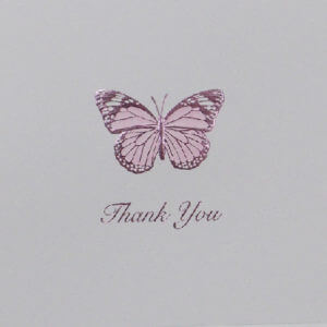 "Paula Skene Designs lavender butterfly ""Thank you"" card"