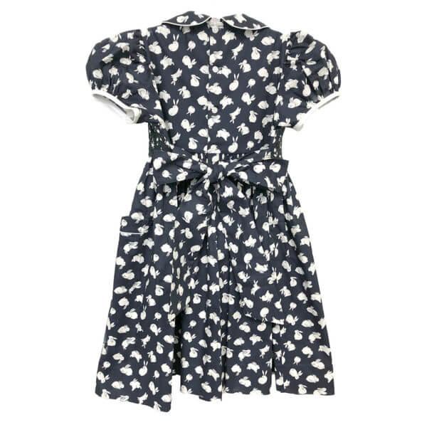 Blue bunny print dress, back view