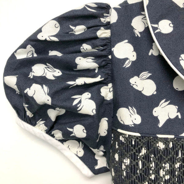 Blue bunny print dress with Peter Pan collar and sleeves