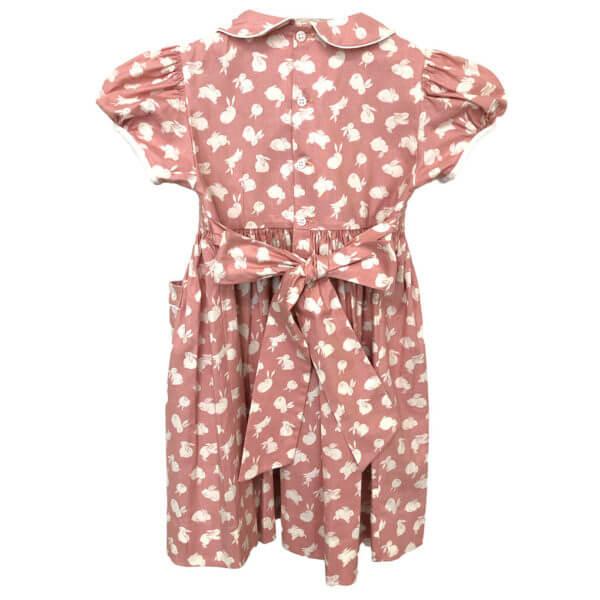 Rose bunny print dress, back view