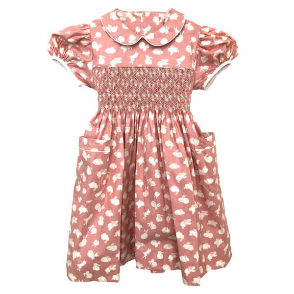 Rose bunny print dress with Peter Pan collar and short sleeves, front view