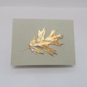 Paula Skene Designs gold foil embossed single oak leaf on moss note card