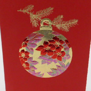 Paula Skene Designs red and gold Poinsettia ornament Christmas card