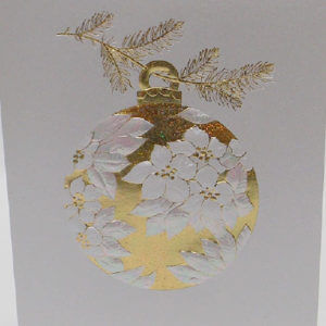 Paula Skene Designs white and gold Poinsettia ornament Christmas card