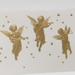 Paula Skene Designs three angel musicians Christmas card