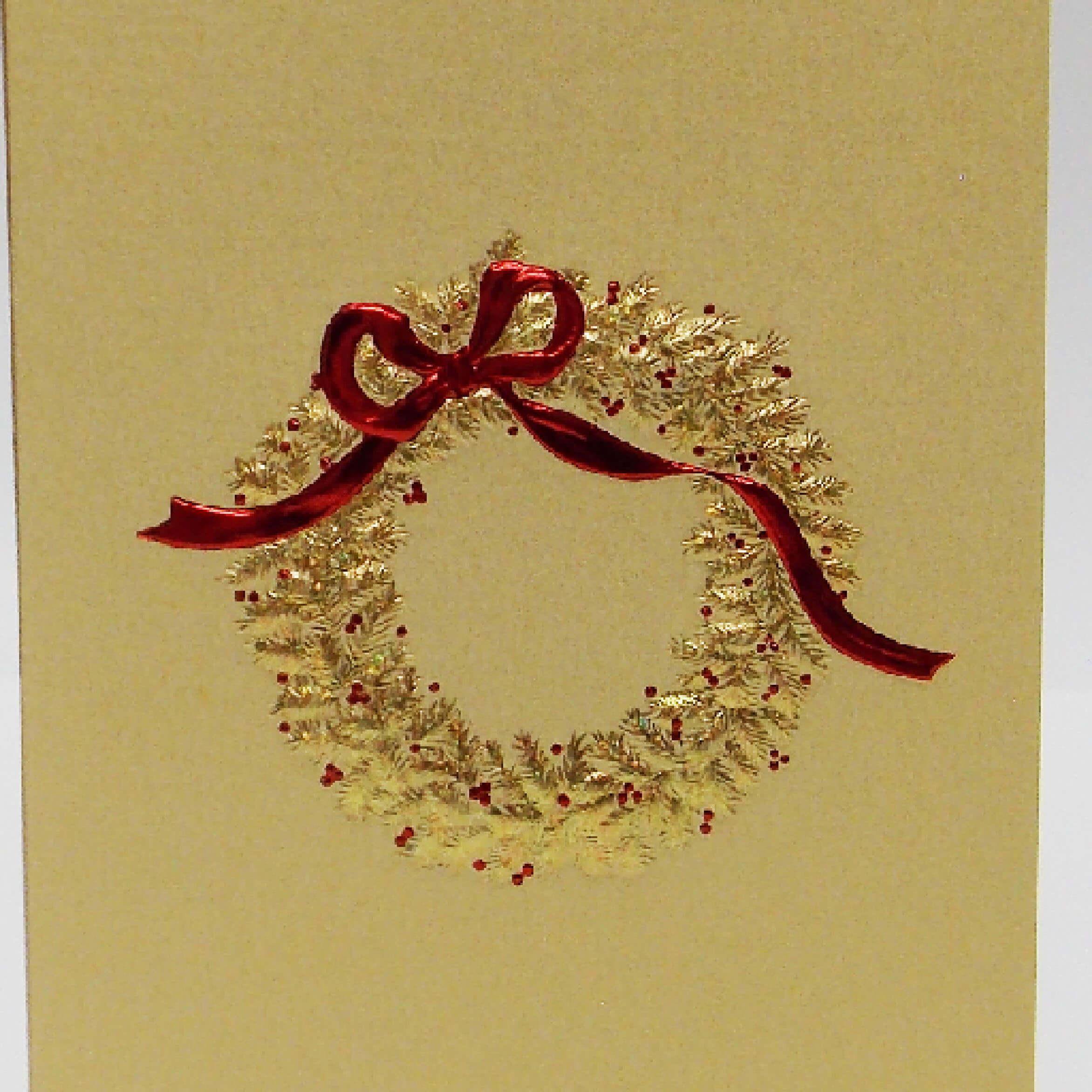 gold wreath on gold mini note card closeup 1000 pixels