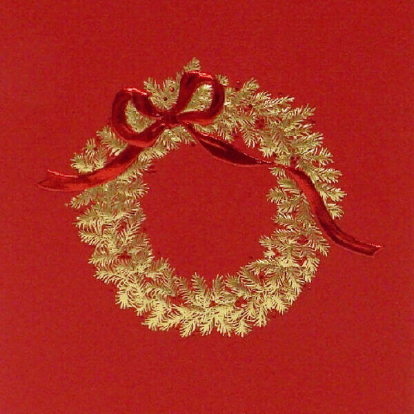 gold wreath on red mini note closeup1000 pixels