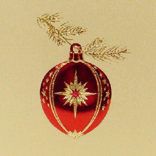 red ornament on gold mini note closeup 1000 pixels