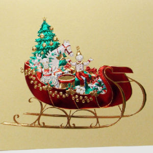 Paula Skene Designs sleigh full of toys Christmas card