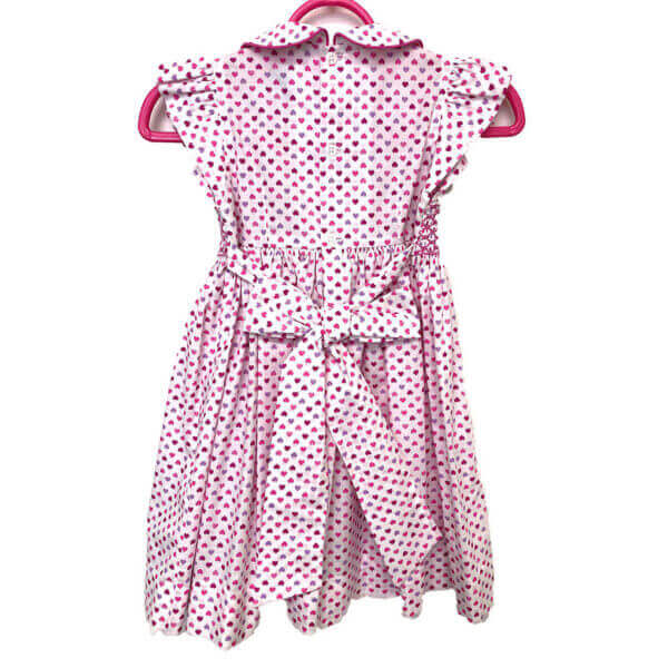 Princess Charming, all cotton, tiny heart print dress with ties for bow - full back view