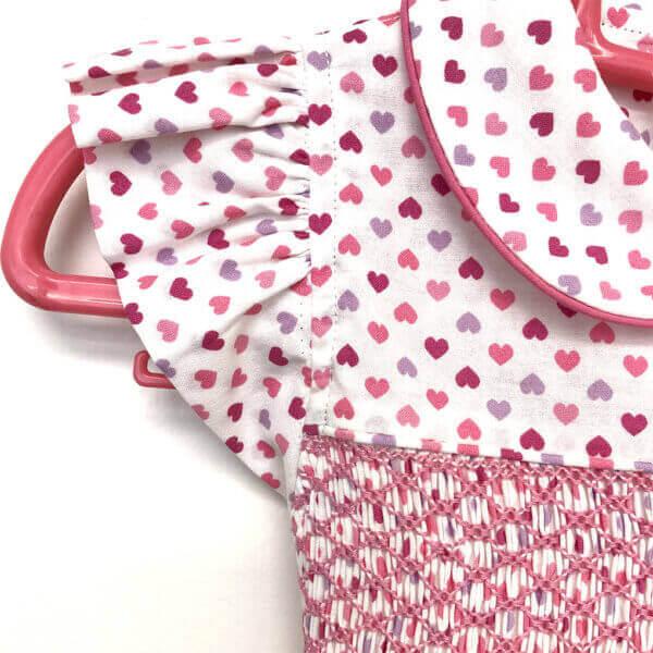 Princess Charming, all cotton, tiny heart print dress - cap sleeve and collar piping close-up