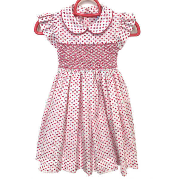 Princess Charming, all cotton, tiny heart print dress with cap sleeves