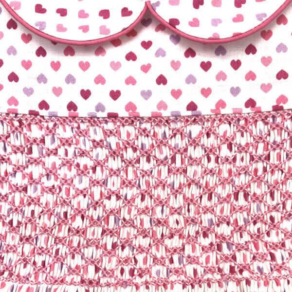Princess Charming, all cotton, tiny heart print dress - smocking close-up