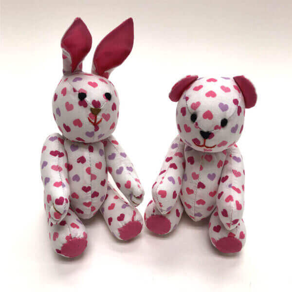 Pocket pals bunny and bear - tiny hearts print