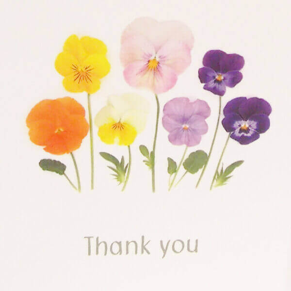 Bottle Branch® 'Thank you' card, with an assortment of pansies and blank inside