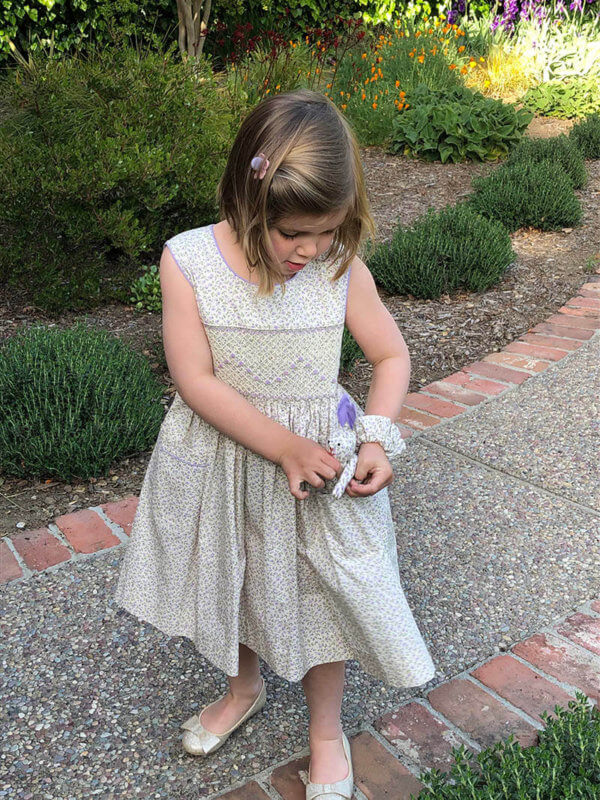 Hand smocked lavender petite petals dress