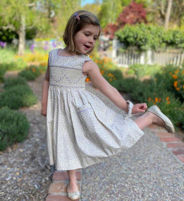 Hand smocked lavender petites petals dress