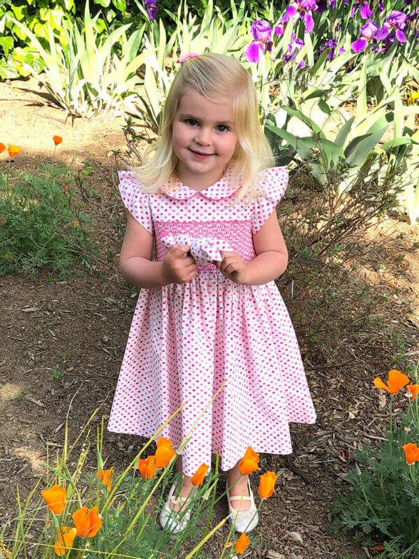 Hand smocked tiny hearts dress and pocket pal® bunny