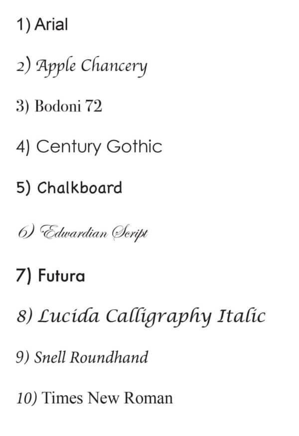 ten font styles for letter opener engraving copy