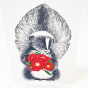 Central & Gus© Scruffles Wigglebottom Skunk  Notecard